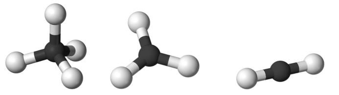 Figure 2. Left: tetrahedral carbon (methane), Center:  trigonal planar (ethylene), Right: linear (acetylene)