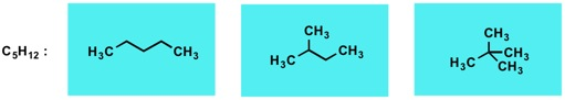 Figure 2. Pentane chain isomers