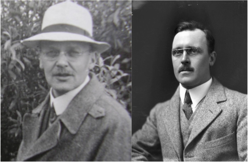 Figure . The gold foil experiment was originally conducted by Hans Geiger (left) and Ernest Marsden (right) under the supervision of Ernest Rutherford at the University of Manchester.